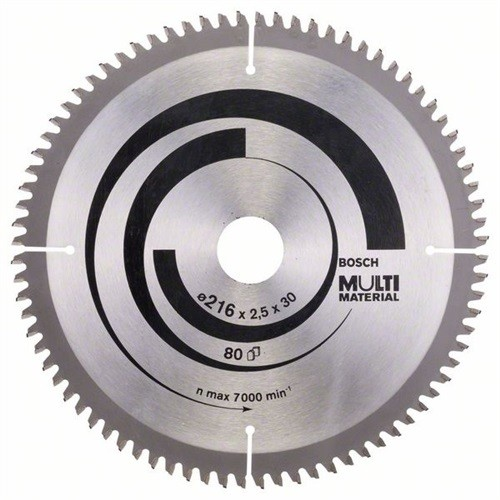 BOSCH Multi Material Kreissägeblatt Außen-D.216mm Bohrung 30mm 80Zähne Schnitt-