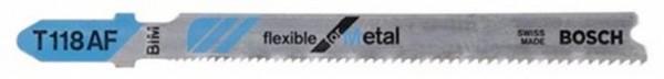 BOSCH T 118 AF Flexible for Metal Stichsägeblatt 3er Pck L.92mm Zahnteilung 1,1