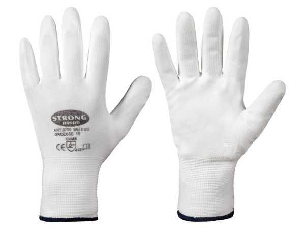Standard BEIJING STRONGHAND Handschuhe, Nylon / PU, Gr.6  Weiß, CAT 2,