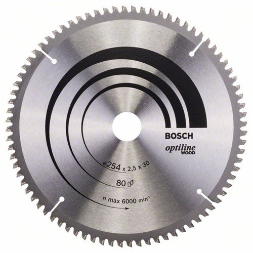 BOSCH Optiline Wood Kreissägeblatt Außen-D.254mm Bohrung 30mm 80Zähne Schnitt-B