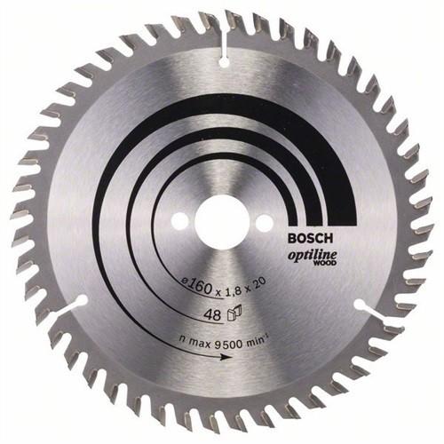 BOSCH Optiline Wood Kreissägeblatt Außen-D. 160 mm Zähnezahl 48 WZ Bohrung 20 m