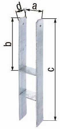 GAH 213800 H-Pfostenträger ETA-10/0210 71x300x600x60mm Stahl roh feuerverzinkt