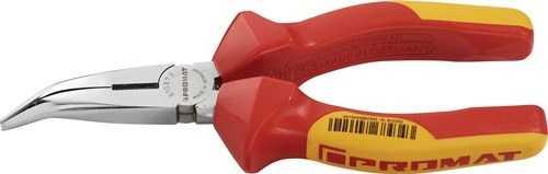 PROMAT Flachrundzange Länge 200 mm verchromt 40Grad gewinkelt VDE Mehrkomponen