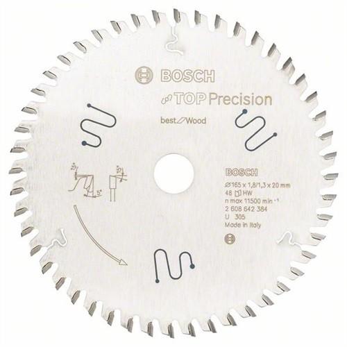 BOSCH Top Precision Best for Wood Kreissägeblatt Außen-D.165mm Bohrung 20mm 48Z