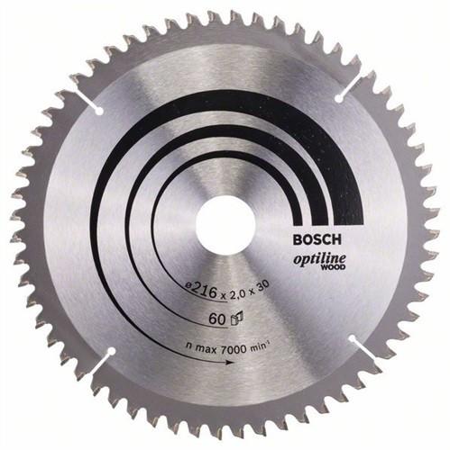 BOSCH Optiline Wood Kreissägeblatt Außen-D. 216 mm Zähnezahl 60 WZ/N Bohrung 30