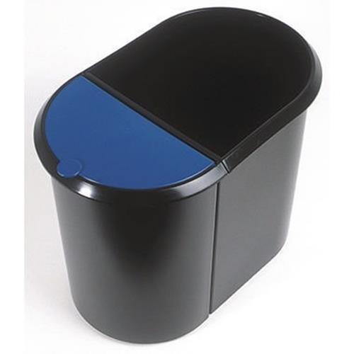 helit Papierkorb Duo-System H6103993 29l oval Kunststoff sw/bla