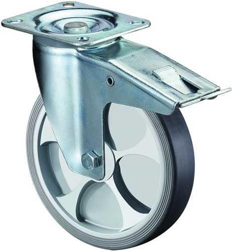 BS L420.B44.126 Lenkrolle Rad-D. 125 mm Tragfähigkeit 120 kg mit Totalfeststelle